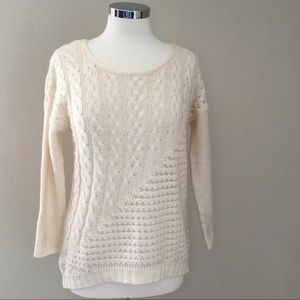 Lucky Brand Soft Crew-Neck Cream Sweater - Size S